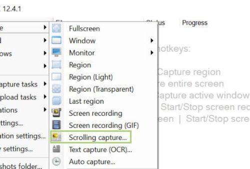 Long screenshot using ShareX
