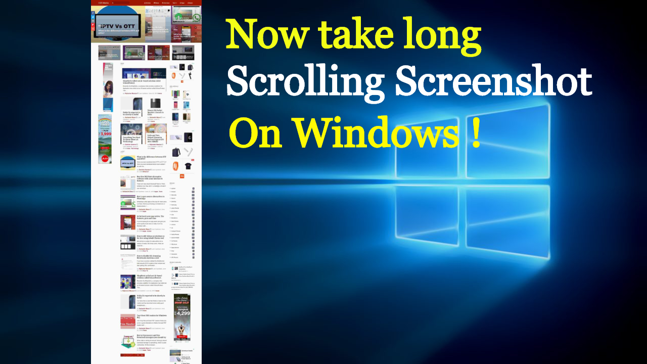 Now take Scrolling screen shot on windows