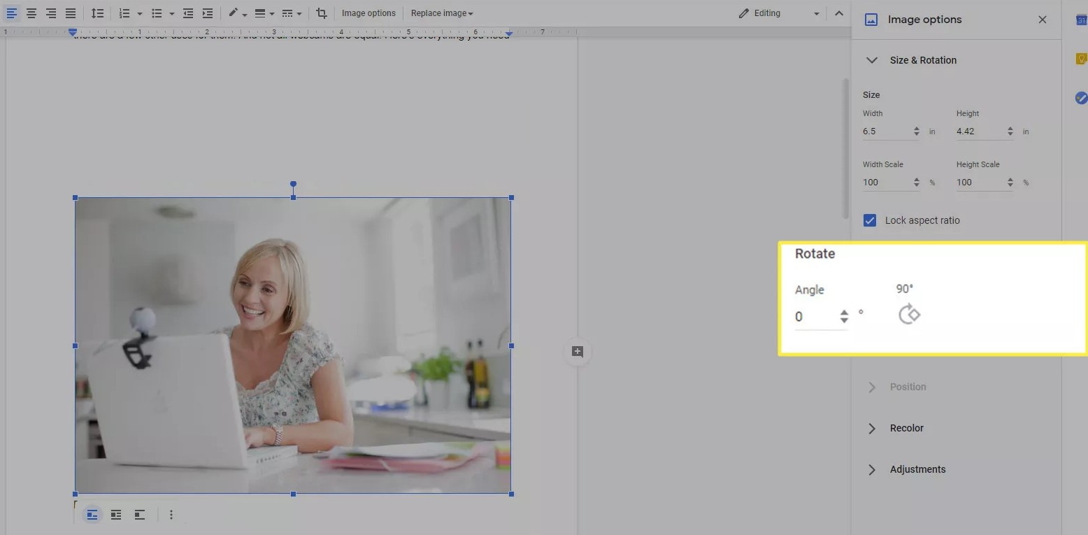 rotate an image in google docs