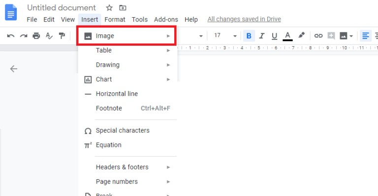 Select image from the drop down menu